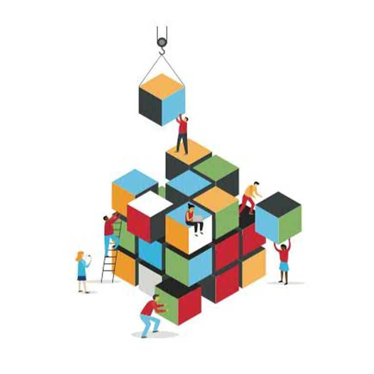 Illustration of people constructing a cube