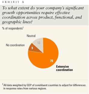 To what extent do your company's significant growth opportunities require effective coordination across product, functional, and geographic lines?