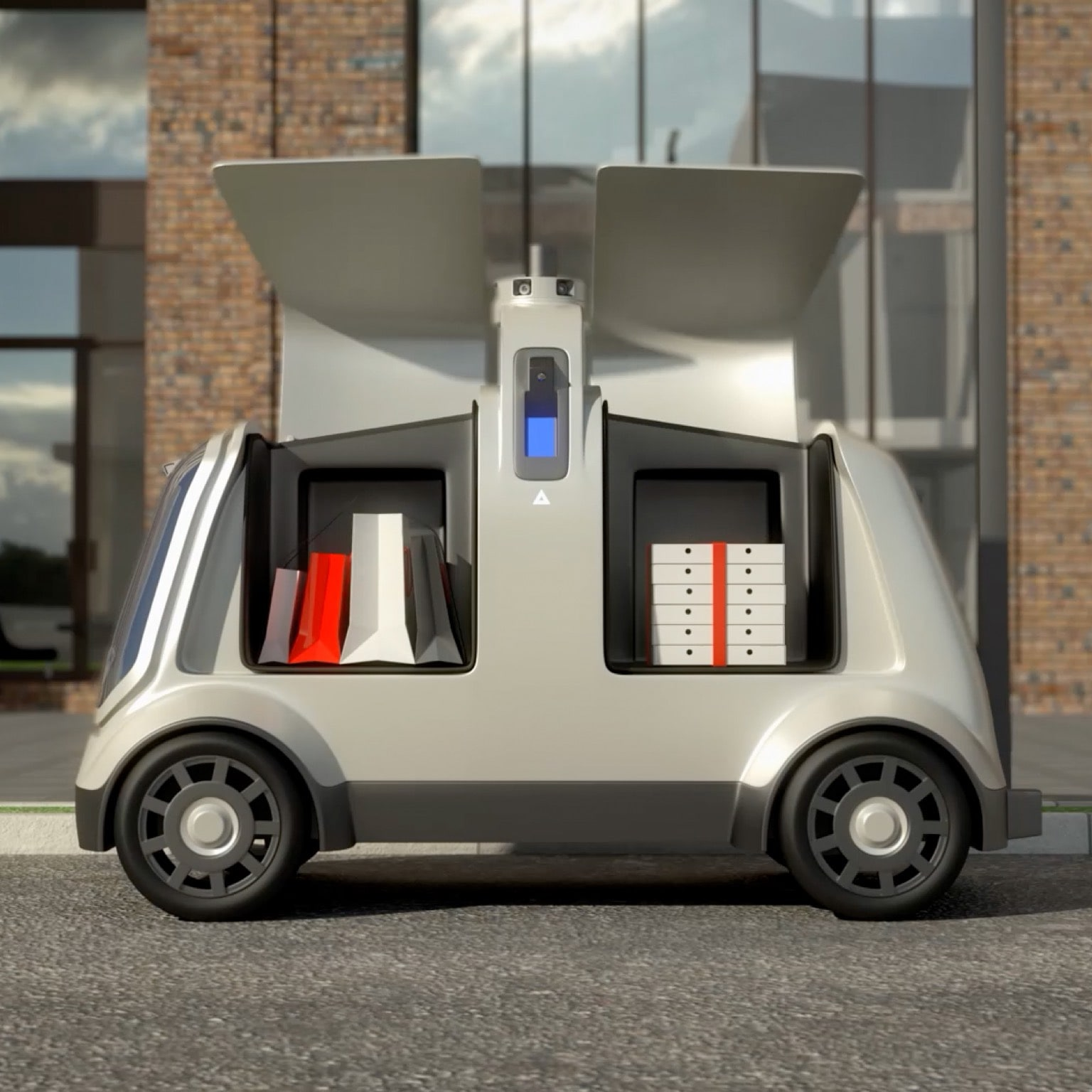 Electric vehicle delivering packages