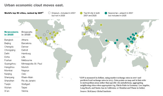 The top 50 urban players in the global economy will see more than a dozen new entrants.