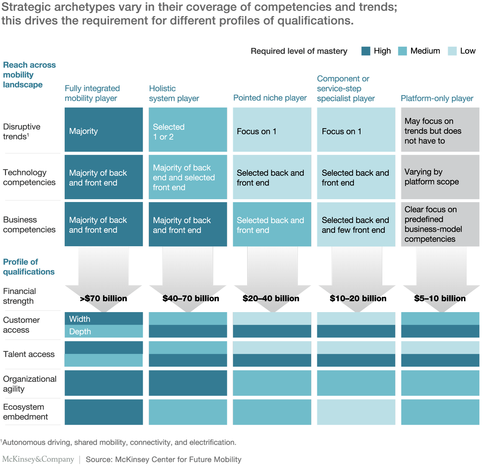 reach across mobility landscape and profile of qualifications for the 5 strategic archetypes