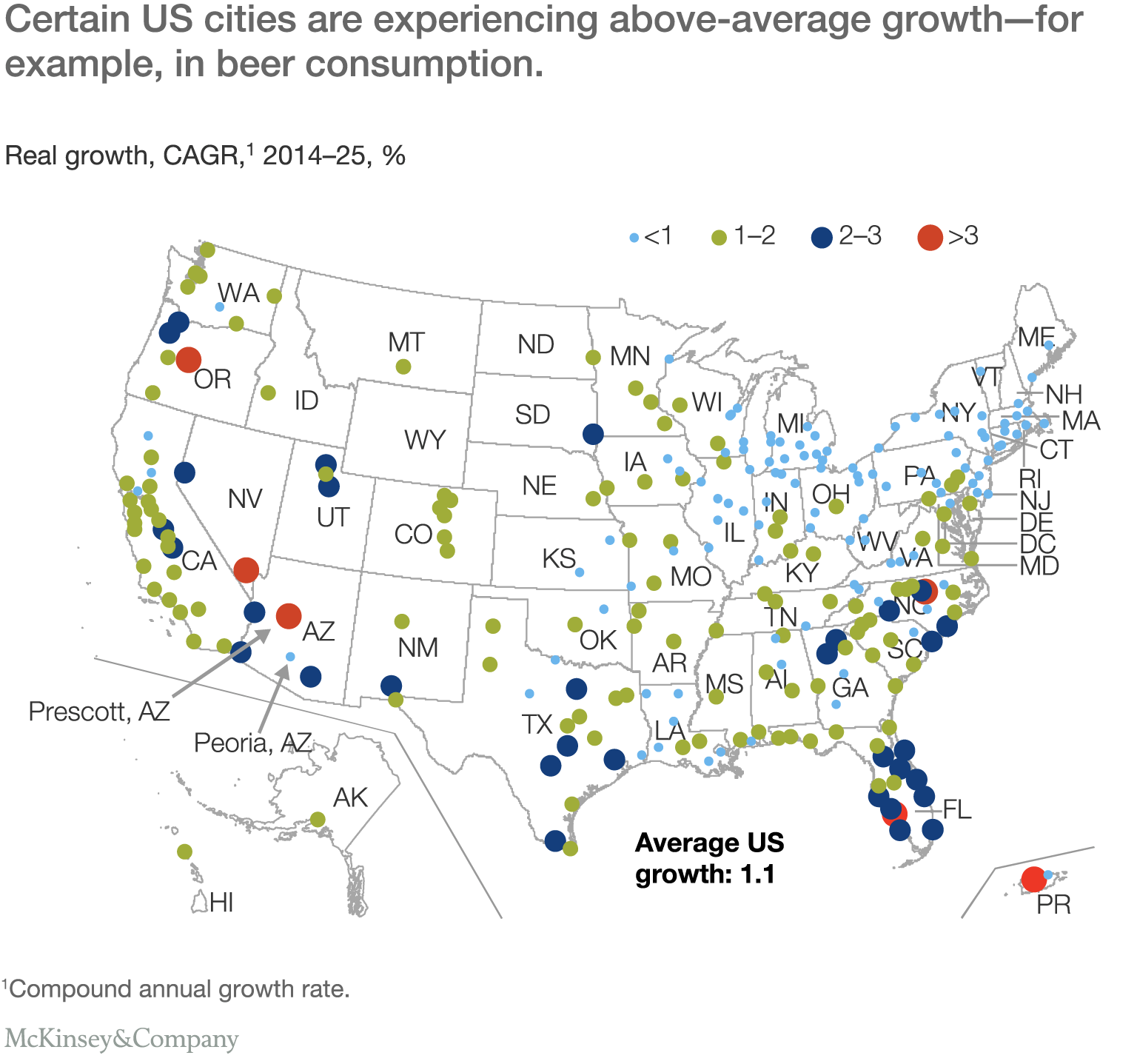 Three Myths About Growth In Consumer Packaged Goods McKinsey - Cities us by growth rate map