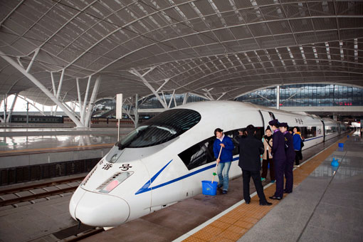 A Chinese-built high-speed train at the Wuhan Railway Station, in Wuhan, China.